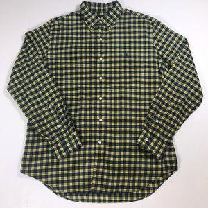 Ralph Lauren Button Down shirt yellow blue plaid L